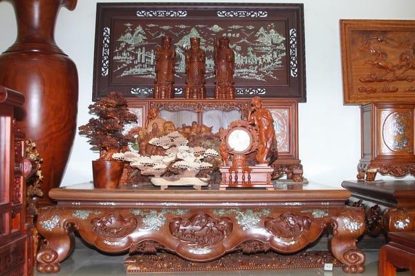 Sập Ba Bông Gỗ Hương