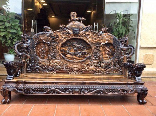 Bộ ghế Rồng Đỉnh gỗ mun VIP
