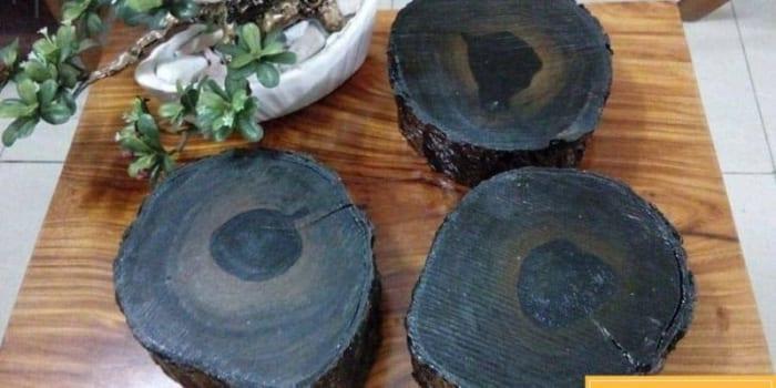 Gỗ mun có màu đen tuyền và thớ gỗ mịn.