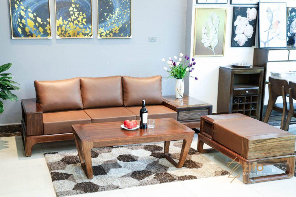 Top mẫu sofa 100% gỗ tự nhiên cho phòng khách nhỏ hiện đại